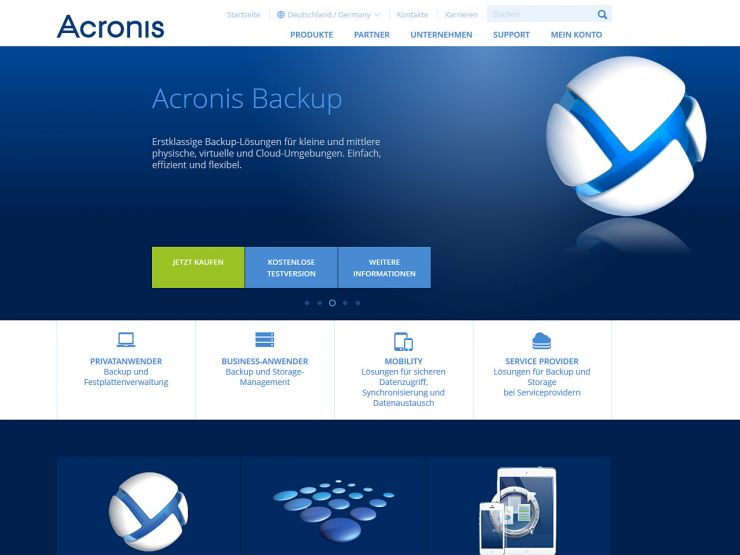 acronis.com Screenshot