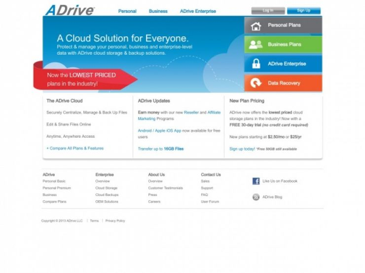 adrive.com Screenshot
