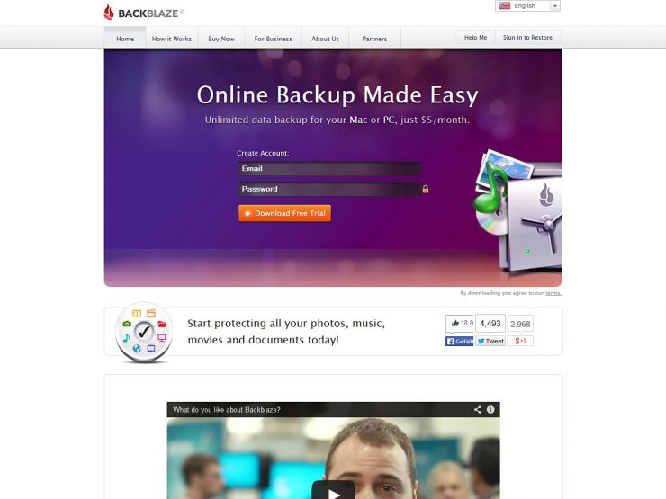 backblaze.com Screenshot