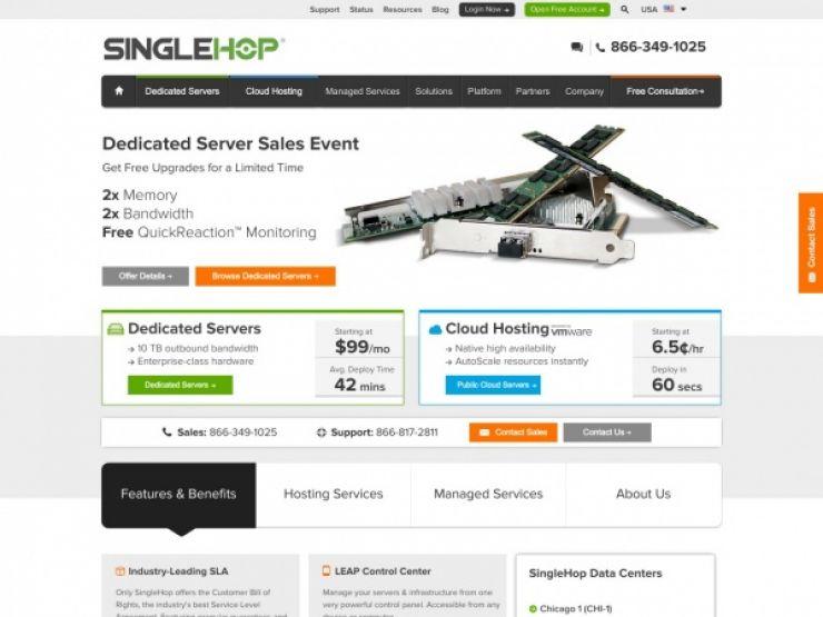 singlehop.com Screenshot