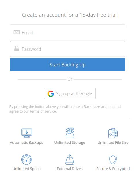 Registrierung bei Backblaze.com