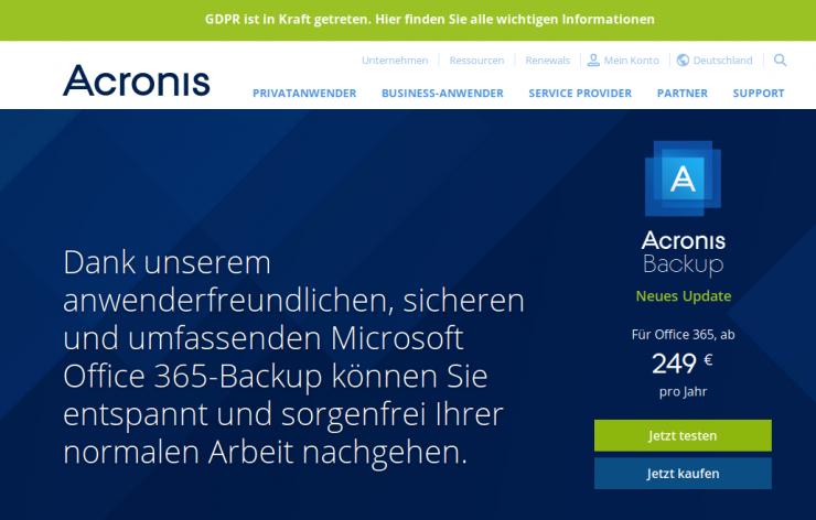 Office 365 Backup Acronis